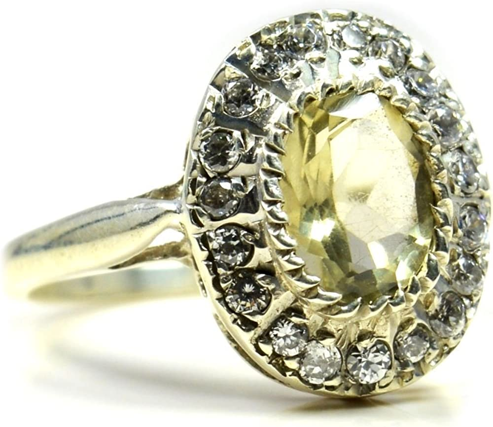 Jewelryonclick Natural Lemon Quartz Oval Cut Silver Ring For Men With CZ Stione Size US 4 to 12