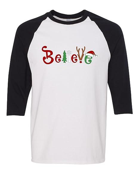 Believe Christmas Raglan 3/4 quarter sleeve soft shirt. Chrismas shirt. Santa. TurmVnVK