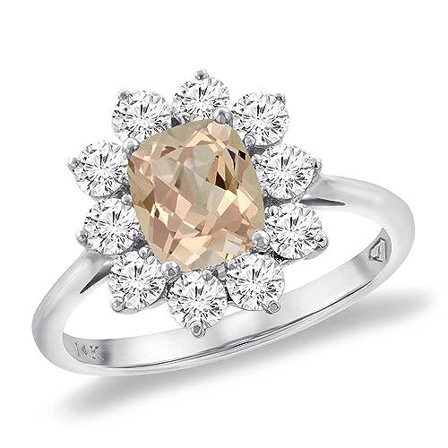 Amazon.com: Oro blanco de 14 K Diamante Natural morganita ...