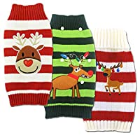 Mikayoo pet sweater for small dog/cat,Ugly Sweater,Color Horizontal Stripes,Christmas Holiday Xmas, Elk Series, Reindeer series,with Bells
