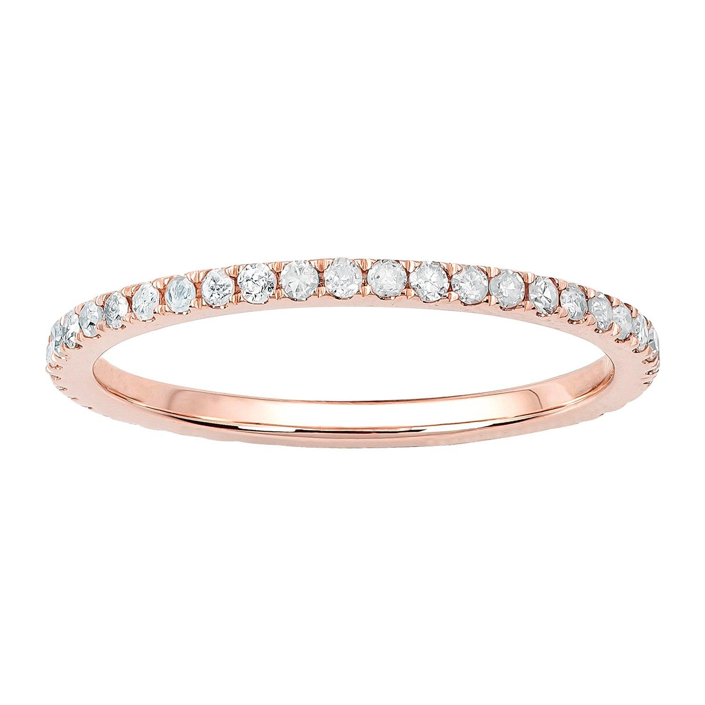 10k Rose Gold Pave Eternity Diamond Wedding Band (1/2 cttw, I-J Color, I2-I3 Clarity)