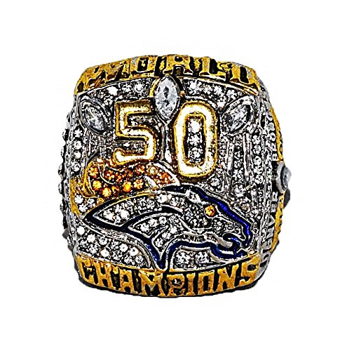 DENVER BRONCOS (Von Miller) 2015 SUPER BOWL 50 WORLD CHAMPIONS (The Ones for Pat) Rare & Collectible High Quality Replica NFL Football Gold Championship Ring with Cherrywood Display Box
