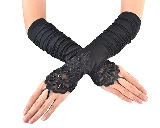 1920s Accessories | Great Gatsby Accessories Guide JISEN Ladiess Fingerless Lace & Sequins Satin Gloves 15 $8.99 AT vintagedancer.com