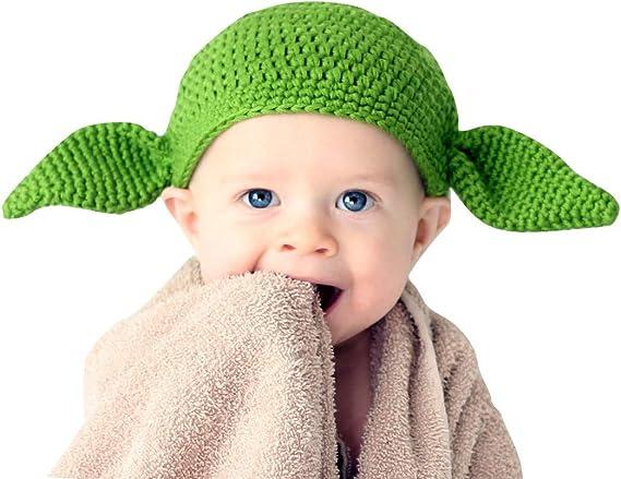 NEW HANDMADE crochet BABY YODA newborn hat 0-3 months Star Wars Red Heart yarn