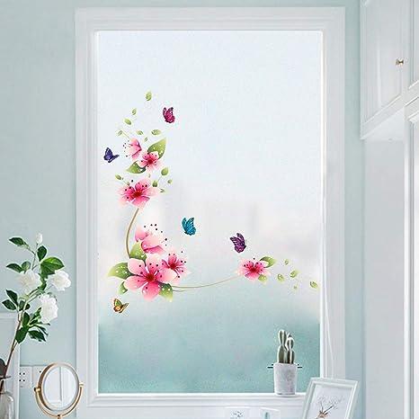 Wandsticker4u Wandtattoo Blumenranke Romantik Rosa Rot Wandbilder 62x64cm Wand Aufkleber Blumen Zweige Schmetterlinge Fenster Sticker Bluten