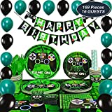 WERNNSAI Video Game Party Supplies - Video Game Party Decoration Boys Birthday Party Favors Cutlery Bag Table Cover Plates Cups Napkins Straws Utensils Birthday Banner & Balloons Serves 16 Guests 169 PCS