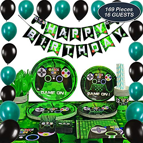 WERNNSAI Video Game Party Supplies - Gaming Party Decoration Boys Birthday Party Favors Cutlery Bag Table Cover Plates Cups Napkins Straws Utensils Birthday Banner & Balloons Serves 16 Guests 169 - Supplies Party Decorations