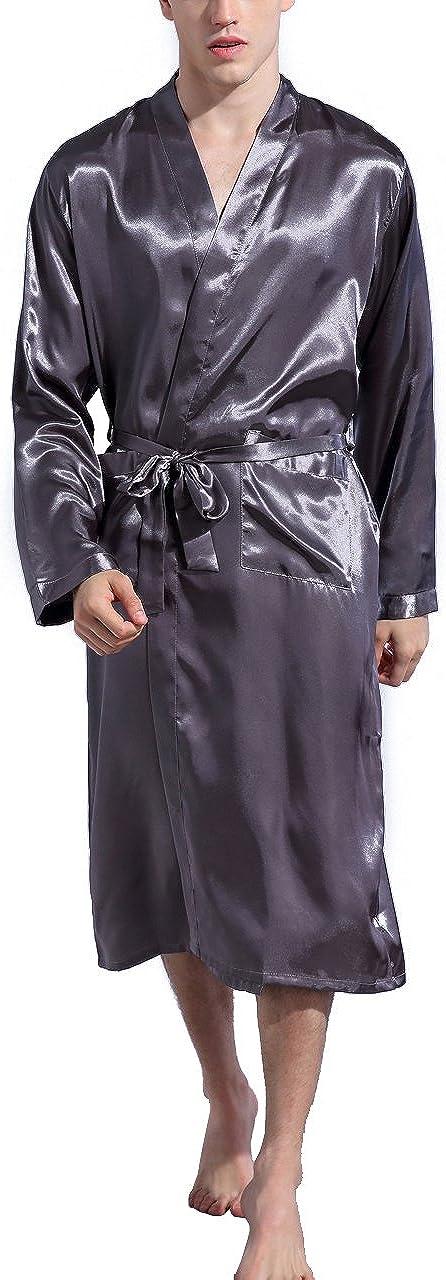 Mobarta Mens Satin Kimono Robe Long Bathrobe Lightweight Loungewear Sleepwear Silk Nightwear Spa Bathrobes