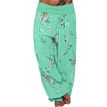 989d53f9f0a Bellelove Femmes Pantalons Longs Dames Pantalons de Yoga Lâches Taille Plus  Legging Imprimé Pantalon Élastique Occasionnel Cropped Full Length Pantalons   ...