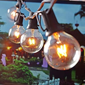 Aluvee G40 25Ft Globe Bulbs Outdoor String Lights, Hanging Connectable Indoor/Outdoor Backyard Patio Lights Garden Party Bistro Market Cafe Umbrella Lamp Backyard Lights Decor,Waterproof,Black