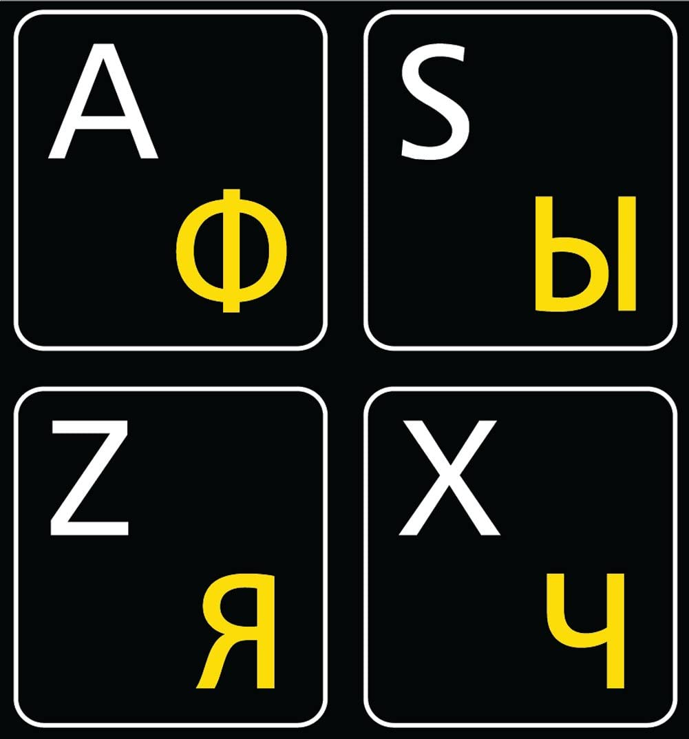 Online-Welcome Russian-English Keyboard Stickers Non Transparent Black Background for All PC Desktop Computer Laptop