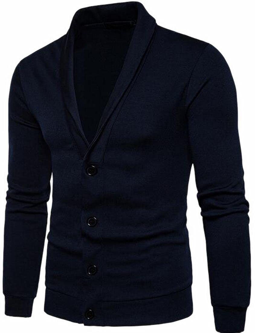 FLCH+YIGE Mens Solid Shawl Collar Button Up Knitted Cardigan Sweater