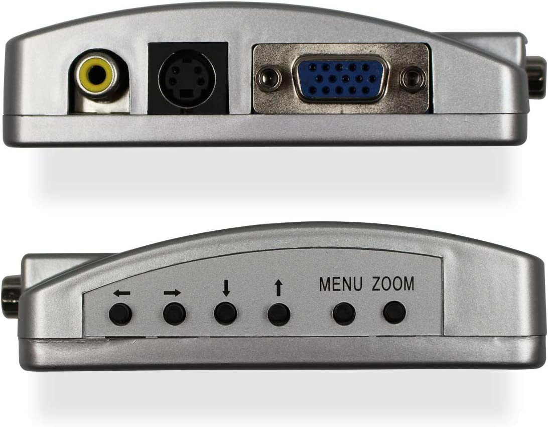 VGA to RCA Adapter, Composite AV S Video to VGA Converter, PC to TV Video Switch Box for HDTV, Monitors, Laptop, Desktop, PC
