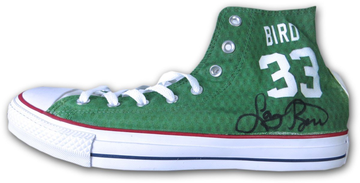 Larry Bird Signed Autographed Converse Custom Shoes Celtics Size 12 JSA COA