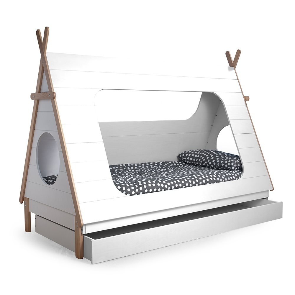 Woood teepee cabin bed trundle drawer