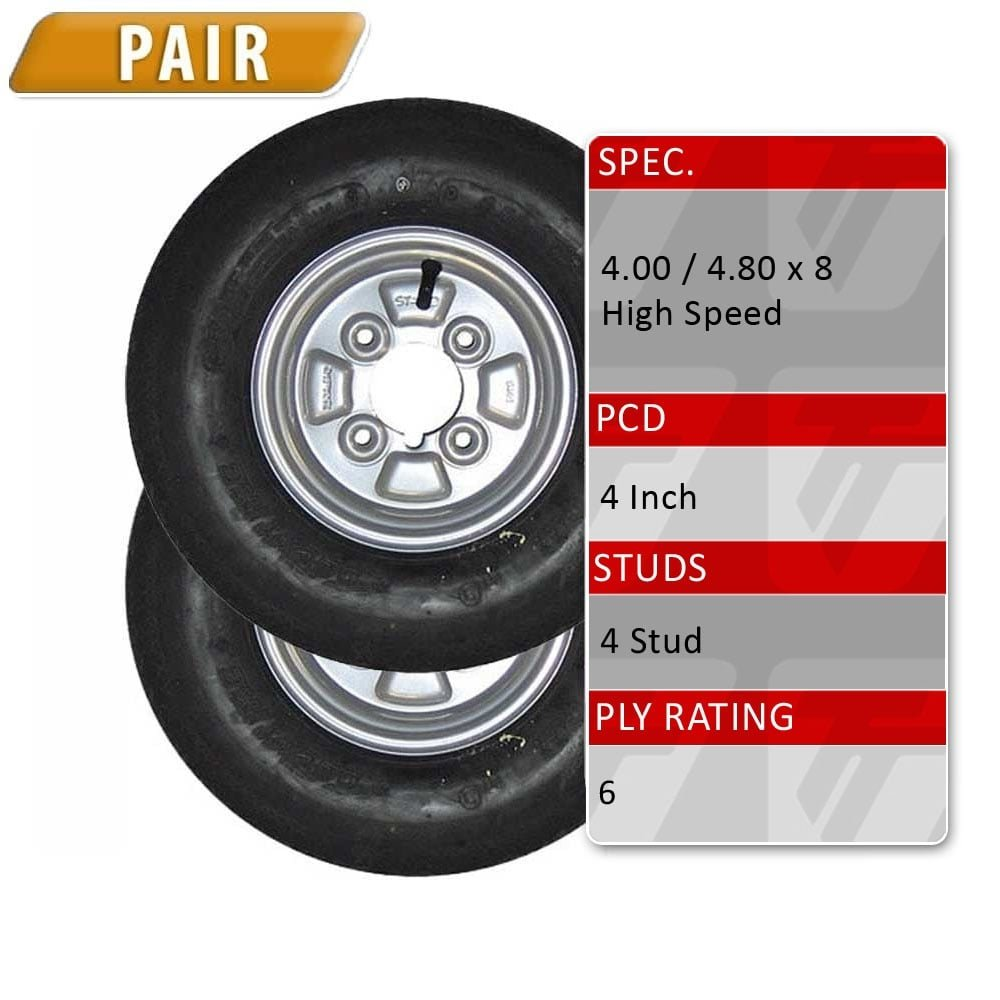 "Pair of 4.80/4.00-8 Trailer Spare Wheel & 6 Ply Tyre - 4 Stud 4"" PCD TRIDENT"
