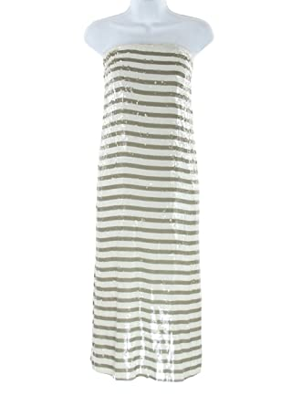 J Crew Collection Gray and White Stripe Sequin Midi Tube Dress Sz 4