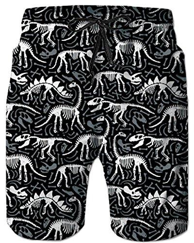 TUONROAD Men's Funny Stylish 3D Floral Prints Novelty Bathing Suit Beach Shorts White Black Grey Dinosaur Fossils Skull Cute Short Swim Trunks Guys Hot Pattern Tropical Hawaii Modest Beach Shorts ()