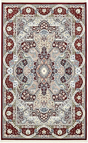 A2Z Rug Burgundy 5' x 8' - Feet Tabriz Area Rug - Rectangle Beige Tabriz Medallion Rug