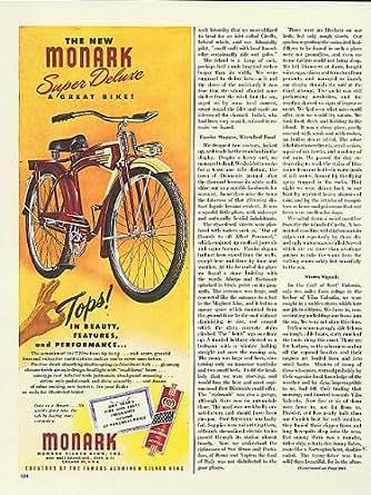 Amazon.com: Tops in beauty Monark Super Deluxe bicycle ad 1947