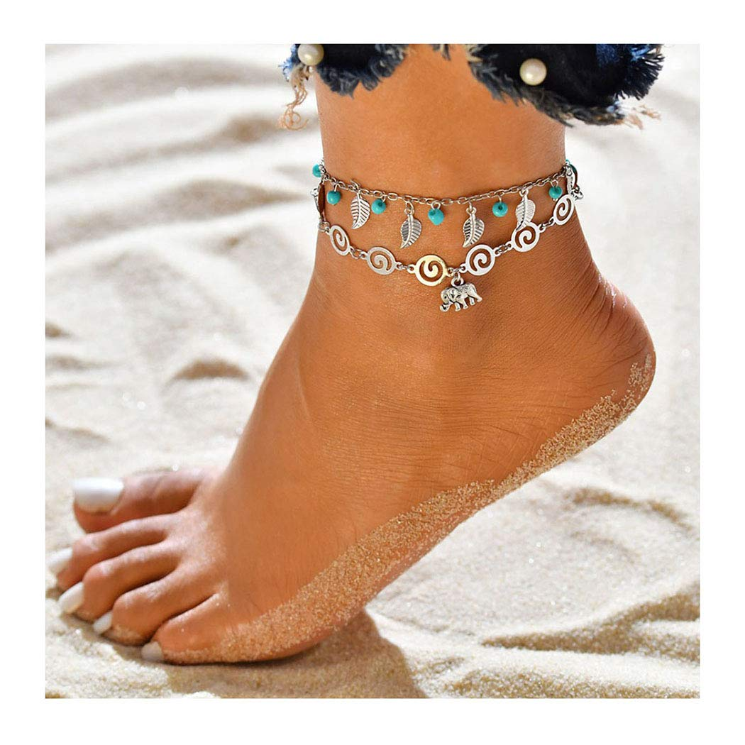 Shegirl Boho Layered Anklet Silver Elephant Lovely Anklet Bracket Fashion Turquoise Pendant Foot Jewelry for Women and Girls (Elephant)