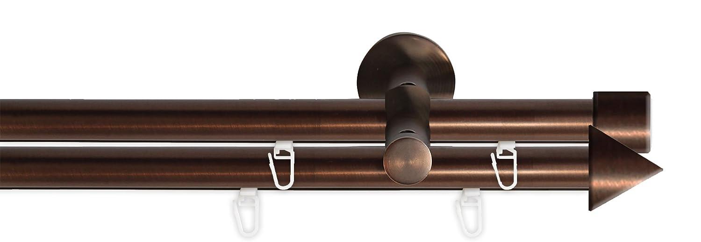 Tilldekor Innenlauf Gardinenstange HIGH-LINE PALMA, 2-Lauf,  braun-antik, Ø 20 mm, 200 cm, inkl. Trägern und Gleitern