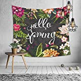 JUNMAO Hello Spring Tapestry Wall Hanging Flower Bloom Tree Leaves Wall Decor for Bedroom Living Room Decoration Beach Throw Table Cover (B, 3)
