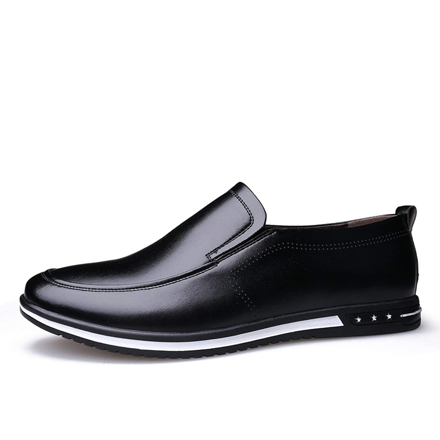 Black no hollow OH WHY Men's shoes Casual Leather Breathable Slip on Loafers Summer shoes Man Flat Driving shoes