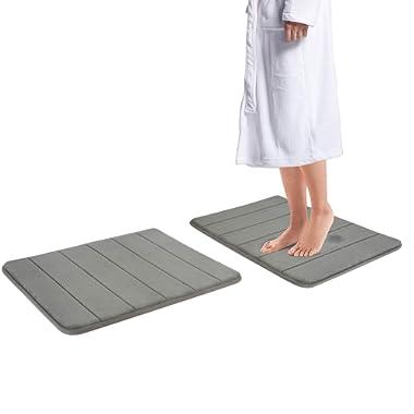 Drhob 2Pcs Gray 17 x 24  Non Slip Coral Velvet Bathmat Absorbent Bath Rugs Memory Foam Bath Mats with Anti-Skid Bottom