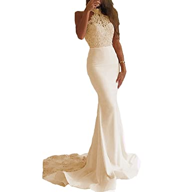 tutu.vivi Womens Lace Mermaid Prom Dresses Halter Long Formal Evening Gowns Sweep Train Champagne