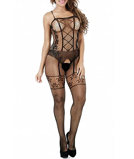 22041f52c Image Unavailable. Image not available for. Color  Davidsly Women Black  Fishnet Full Bodystocking Crotchless Sheer Sexy Lingerie Sleeveless Big Net  One Size