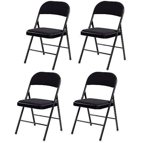 Amazon.com: Giantex Juego de 4/6 sillas plegables tapizado ...