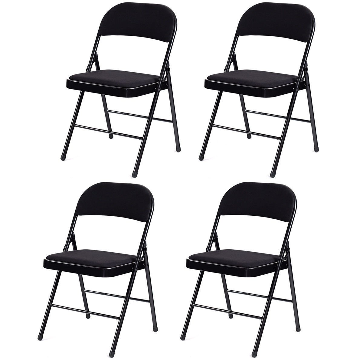 Giantex Set of 4 Folding Chairs Fabric Upholstered Padded Seat Metal Frame Home Office Furniture, Black