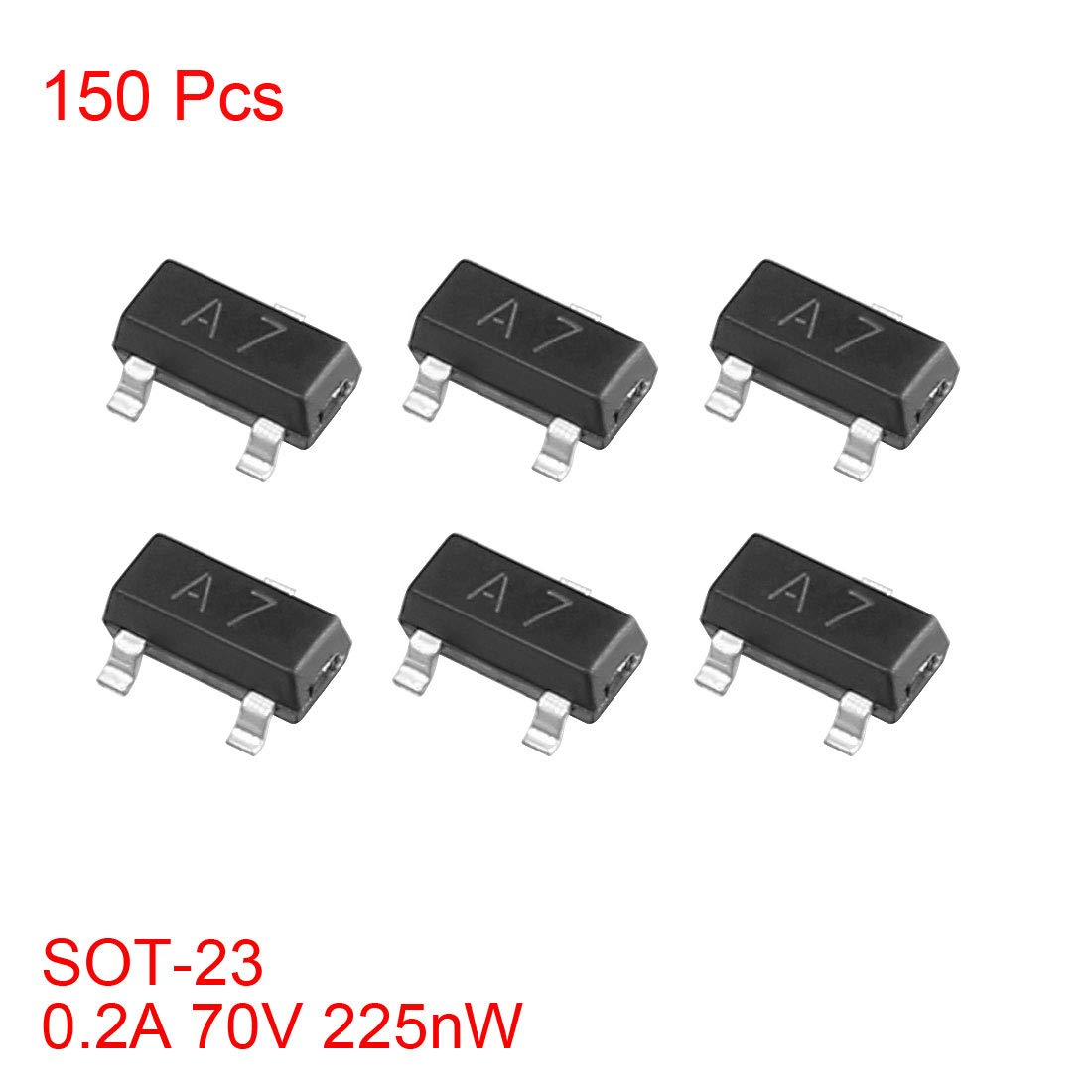 uxcell 150pcs SMD Small Signal High-Speed Switching Recrifiers Diode 0.2A 71V 225nW SOT-23,Ifm=100mA