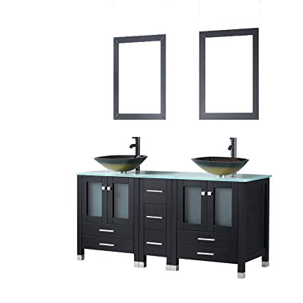 Walcut Black 60 Inch Bathroom Vanity And Sink Combo Double Cabinet With  Double Glass Vessel Sink