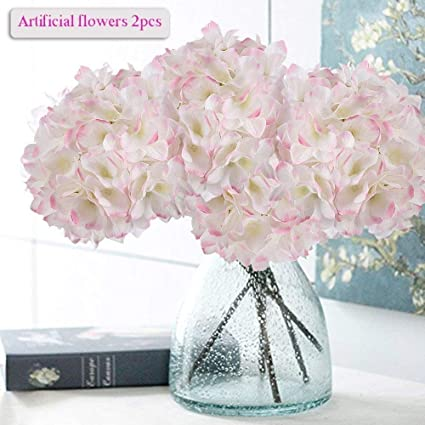 Amazon artificial hydrangea flowers meiwo 2 pcs fake hydrangea artificial hydrangea flowers meiwo 2 pcs fake hydrangea silk flowers to shine your wedding scene mightylinksfo