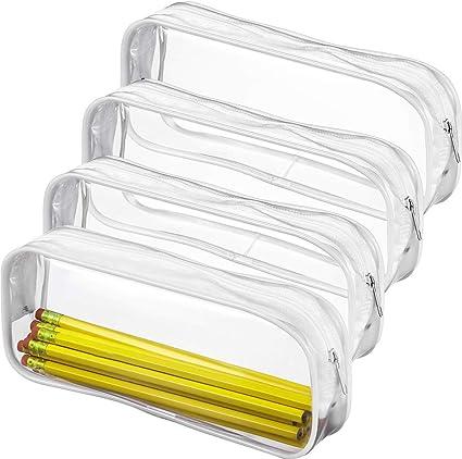 ManLee 4 Piezas Estuche Transparente PVC para Lápices Estuche Escolar con Cremallera de para Bolígrafos Estuche Estudiantes Impermeable Papelería 20 x 8 x 3.5cm para Bolsa de Maquillaje: Amazon.es: Belleza