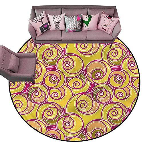 (Bathroom Rug Kitchen Carpet Grunge,Ornate Retro Swirls Diameter 66