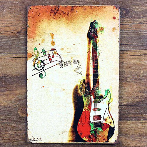 Tin Sign Purple Verbena Art- Music Guitar Retro Vintage, 812 Inches