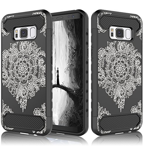 Galaxy S8 Case, Samsung S8 Cover, Tekcoo [Tcf Series] Hybrid Shock Absorbing Shock Dust Dirt Proof Defender Rugged Carbon Fiber Slim Hard Cases Shell For Samsung Galaxy S8 5.8 inch Display