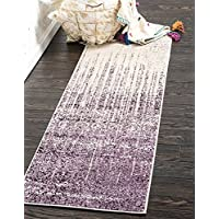 Unique Loom Del Mar Collection Purple 2 x 6 Runner Area Rug (2 2 x 6)