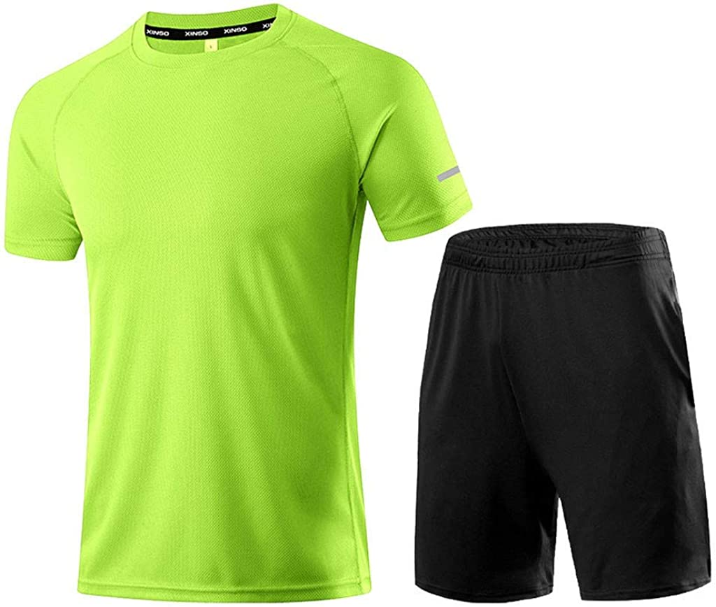 Men's Summer Athletic Sports Suit Set Casual Tracksuit Short Sleeve T-Shirts and Shorts Soccer Uniforms for Men