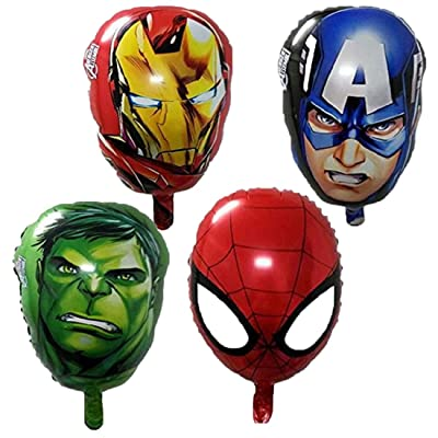 ELSANI 4-pack Superhero Birthday Party Mylar Foil Balloon Avengers Super Hero Birthday Party Supplies Party Decorations(Spiderman/Ironman/Hulk/Captain America): Toys & Games