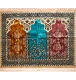 Islamic Prayer Rug - Wide Velvet Janamaz Sajadah Mosque Family Group Carpet 3 Person #17-1