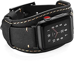 Hepsun Compatible with Apple Watch Bands 44mm 42mm Genuine Leather Strap Retro Crazy Horse Cuff Sport Wristbands for iWatch Band Series 6 5 4 3 2 1 SE Men Women Strap with Stainless Steel Metal Buckle(Black 44/42mm)