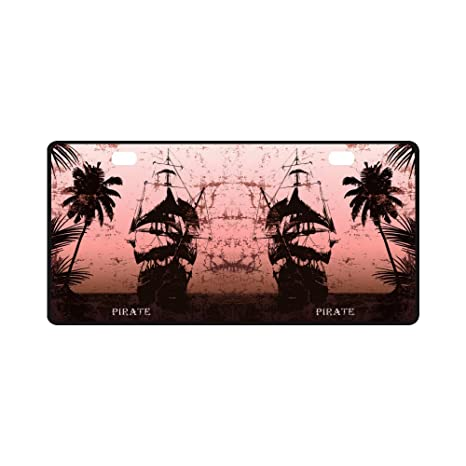 12 x 6 Car Tag for Woman Man INTERESTPRINT Palm Trees Silhouette on Sunset Tropical Beach Automotive Metal License Plate Cover