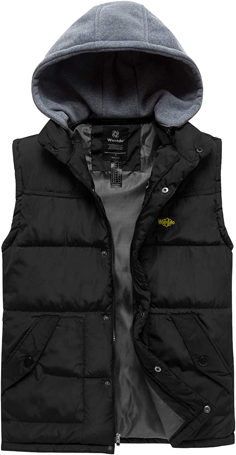 Fuwenni Mens Winter Removable Hooded Padded Quilted Vest Lightweight Outerwear Vests