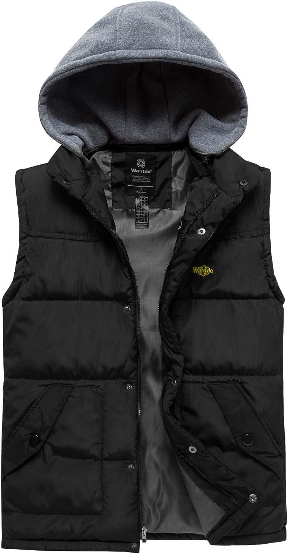 Men/'s Hooded Down Vest Big Fur Hood Winter Warm Sleeveless Jacket Cotton Tops