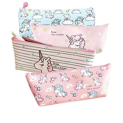 Frcolor 4 unicornio bolsa de maquillaje de viaje organizador cosmético bolsa de lápiz portátil kawaii bolso