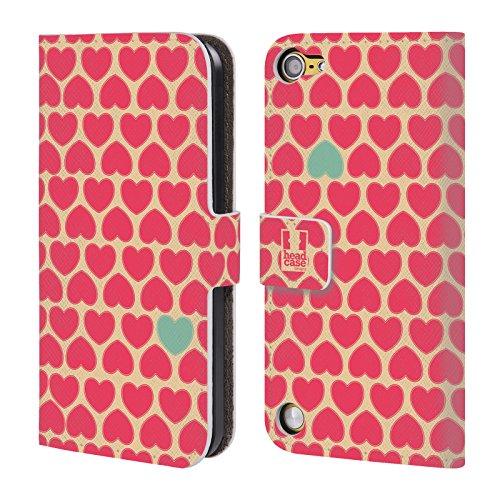 Head Case Designs Bg Giallo Rosa Pattern A Cuore Cover a portafoglio in pelle per iPod Touch 5th Gen / 6th Gen